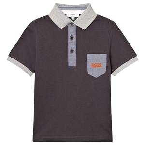 Boss Boys Tops Grey Charcoal and Grey Branded Polo