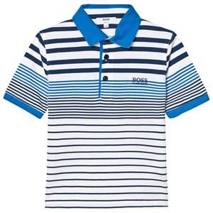 Boss Boys Tops Blue Blue and White Jersey Polo