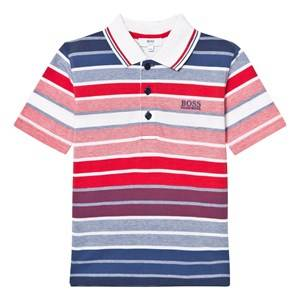 Boss Boys Tops Red Red and Blue Stripe Pique Polo