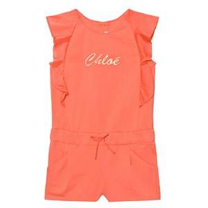 Chloé Girls All in ones Orange Coral Branded Jersey Frill Sleeve Playsuit