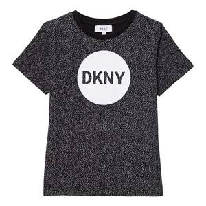 DKNY Boys Tops Black Black Speckled Logo Tee