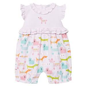 Kissy Kissy Girls All in ones Pink Pink Multi Dog Print Ruffle Romper