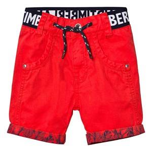 Timberland Boys Shorts Red Red Branded Cotton Turn Up Shorts