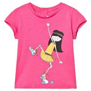 Little Marc Jacobs Girls Tops Pink Pink Miss Marc Rollerskating Print Tee