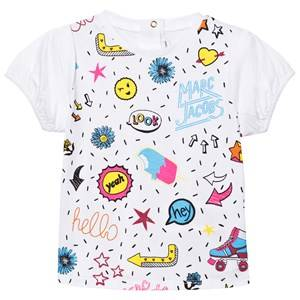 Little Marc Jacobs Girls Tops White White Multi Colour Graphics Print Tee