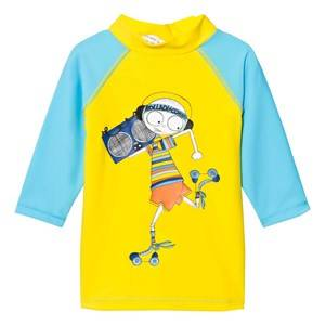 Little Marc Jacobs Boys Tops Blue Blue Mr Marc Rash Vest SPF 50
