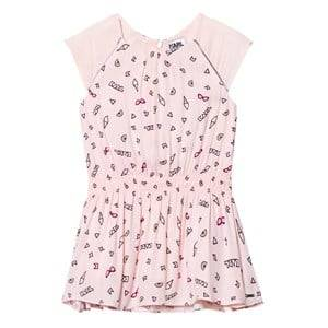 Karl Lagerfeld Kids Girls Dresses Pink Pink Icon Print Cap Sleeve Drop Waist Dress