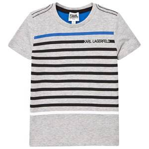 Karl Lagerfeld Kids Boys Tops Grey Grey Marl Stripe Branded Tee