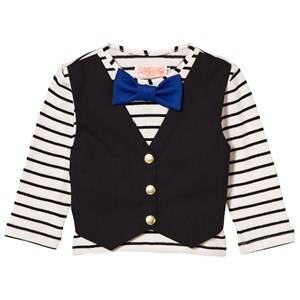 BANG BANG Copenhagen Boys Tops Black Waistcoat and Bow Tie Hudson Tee Black/White