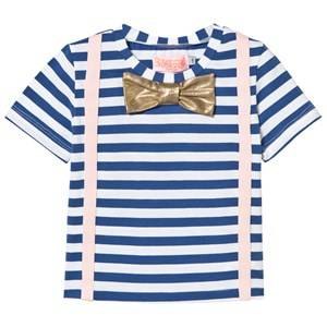 BANG BANG Copenhagen Unisex Tops Blue Blue and White Stripe Louis Tee