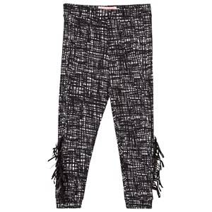 BANG BANG Copenhagen Girls Bottoms Black Wayne Leggings Black Grid Print with Fringing