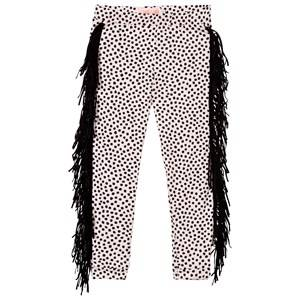 BANG BANG Copenhagen Girls Bottoms Pink Wayne Dot Leggings Pale Pink and Black with Fringing
