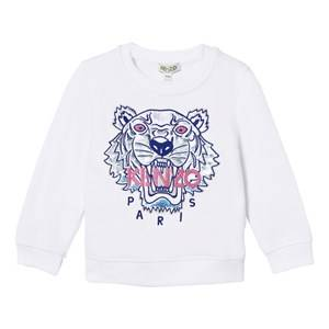 Kenzo Girls Jumpers and knitwear White White Embroidered Tiger Sweatshirt