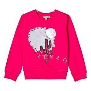 Kenzo Girls Jumpers and knitwear Pink Hot Pink Cactus Embroidered Sweatshirt