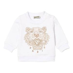 Kenzo Girls Jumpers and knitwear White White and Gold Embroidered Sweatshirt