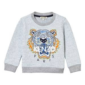 Kenzo Boys Jumpers and knitwear Grey Blue Marl Embroidered Tiger Sweatshirt