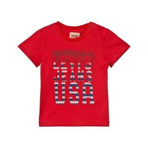 Levis Kids Girls Tops Red Red USA Logo Print Tee
