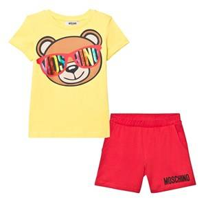 Moschino Kid-Teen Boys Clothing sets Multi Yellow Bear Print Tee and Shorts Set