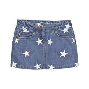Moschino Kid-Teen Girls Skirts Blue Mid Wash Star Embroidered Denim Skirt