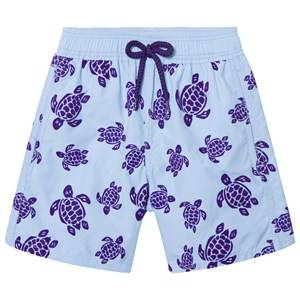 Vilebrequin Boys Swimwear and coverups Blue Flocked Turtles Swimming Trunks