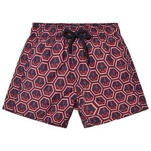 Vilebrequin Boys Swimwear and coverups Multi Navy and Red Anchor Print Swimming Trunks