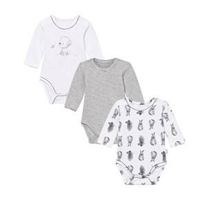 Hust&Claire; Unisex All in ones White Baby Body 3-Pack White