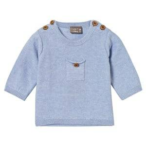 Hust&Claire; Boys Jumpers and knitwear Blue Knit Jumper With Pocket Light Blue melange