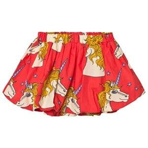 Mini Rodini Girls Skirts Red Unicorn Star Woven Skirt Red