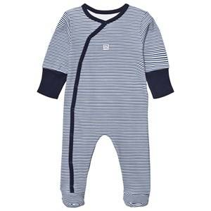 Absorba Boys All in ones Navy Navy Stripe Footed Baby Body with Scratch Mits