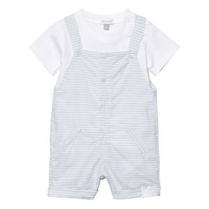 Absorba Boys Clothing sets Blue Pale Blue Stripe Dungaree and White Tee Set