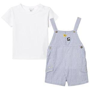 Absorba Boys Clothing sets White White and Navy Stripe Dungaree and Tee Set