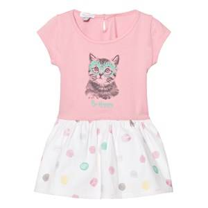 Absorba Girls Dresses Pink Pink Jersey Cat Print Dress with Spot Skirt