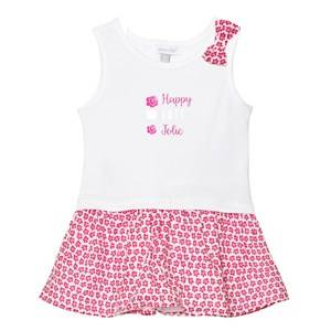 Absorba Girls Dresses White White Floral Bow Jersey Dress with Floral Pink Skirt