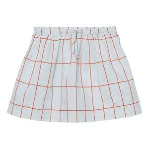 Tinycottons Girls Skirts Blue Big Grid Skirt Light Blue/Red