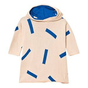 Tinycottons Unisex Jumpers and knitwear Beige Knit Sticks Poncho Nude/Blue
