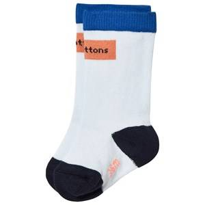Tinycottons Unisex Underwear Blue Logo High Socks Light Blue/dark Peach
