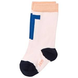 Tinycottons Unisex Underwear Pink T High Socks Pale Pink/Blue