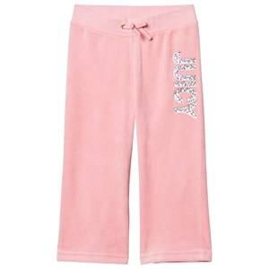Juicy Couture Girls Bottoms Pink Pale Peach Jewelled Glitter Velour Track Pants