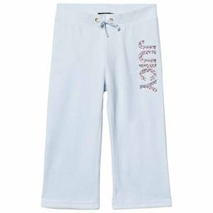 Juicy Couture Girls Bottoms Blue Ice Blue Jewelled Glitter Velour Track Pants