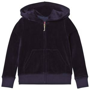 Juicy Couture Girls Jumpers and knitwear Navy Navy Floral Jewelled Crest Velour Hoody