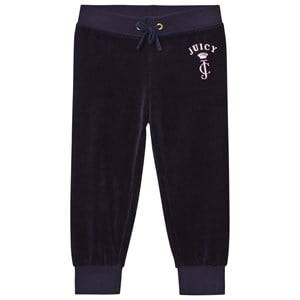 Juicy Couture Girls Bottoms Navy Navy Floral Jewelled Crest Velour Track Pants