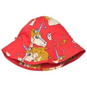 Mini Rodini Unisex Headwear Red Unicorn Star Sun Hat Red