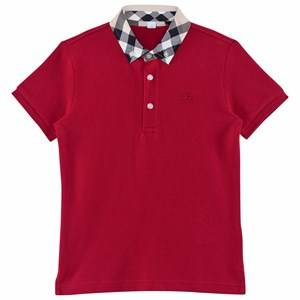 Burberry Boys Tops Red Check Collar Polo Shirt Military Red