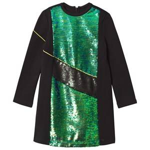 Kenzo Girls Dresses Black Black and Green Sequin Front Milano Dress