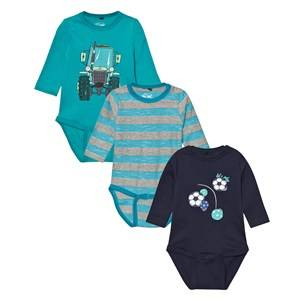 Me Too Boys All in ones Blue Kani 224 3-Pack Baby Body Caribbean Sea