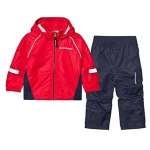 Didriksons Unisex Clothing sets Red Zvoro Kids Rain Set Flag Red