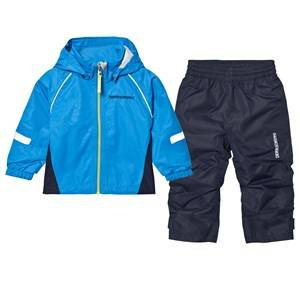 Didriksons Unisex Clothing sets Blue Zvoro Kids Rain Set Sharp Blue