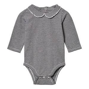 Gray Label Unisex All in ones Black Collared Baby Body Nearly Black/Off White Stripes