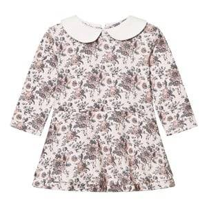 The Little Tailor Girls Dresses Cream Floral Jersey Dress with Collar