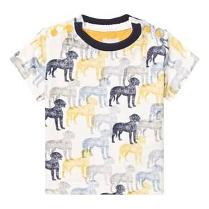 The Little Tailor Boys Tops Cream Cream and Blue Multi Dog Print Tee